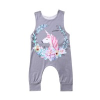Newborn Baby Girl Boy Unicorn Bodysuit Casual Floral Printed Sleeveless Bodysuit 2018 New Cotton Jumpsuit Summer Baby Clothes