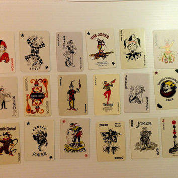 instant collection of 22 vintage JOKER playing cards . Joker card - vintage clowns