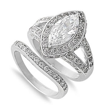A Perfect 2CT Marquise Cut Halo Split Shank Russian Lab Diamond Bridal Set Ring