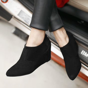 Women's High Heels Shoes Pointed Toe Wedges Ladies Pumps Black Grey Suede Slip On Girl Shoes