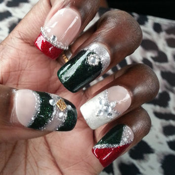 Red, White and Green, Japanese Inspired Christmas Bling False Nails with Silver Glitter, Gold Studs and Beads, and White Rhinestones