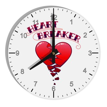 "Heart Breaker Cute 8"" Round Wall Clock with Numbers by TooLoud"
