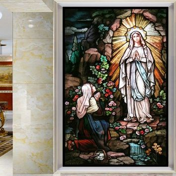 Custom size  Self-Adhesive window Glass Films sticker paper Door Stickers Vintage European Style Translucent  Jesus Christ  N112