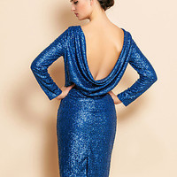 Royal Blue Sexy Backless Sequin Sheath Dress