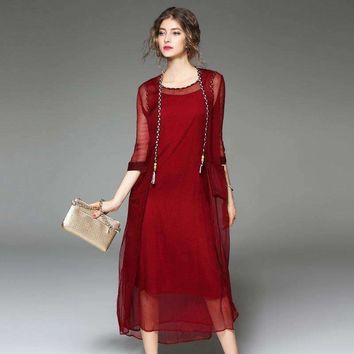 Summer New Women'S Relaxed Temperament Pure Silk Stitching Dress Of Three Pieces