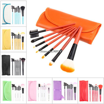 Professional red 7 pcs Makeup brush Tools make up brushes Cosmetic Brushes Free Shipping