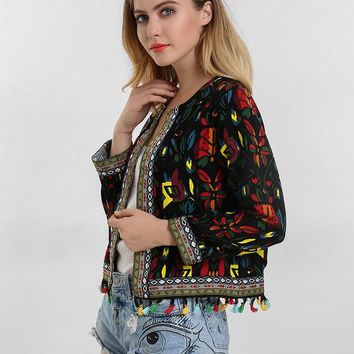 O-NEWE Tribal Style Printed Embroidery Tassels Stitching Women Jacket