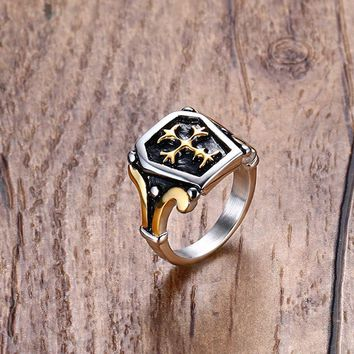 Mens Vintage Rings Unending Loyalty Stainless Steel Center Celtic Cross Ring in Gold / Silver-color Black Men Bike Jewelry Aneis