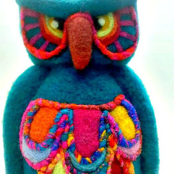 Needle Felted Bright Turquoise Blue Owl Table Top Soft Sculpture