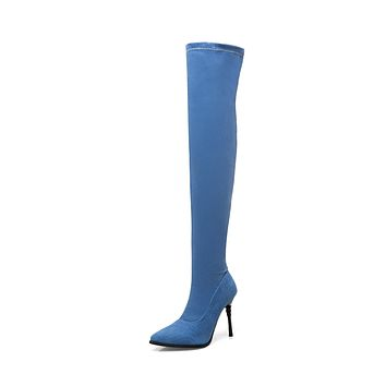 Pointed Toe Stiletto Heel?Tall Boots Winter Shoes for Woman 7942