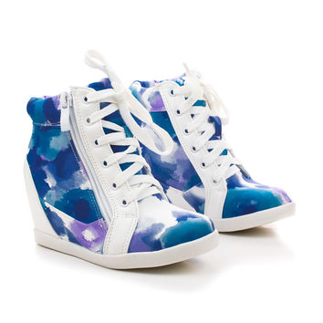 Peter65K Children's Girl Lace Up Color Splash Print Hidden Wedge Sneakers