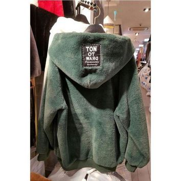CREYC8S Women'S Loose Thickened Hooded Sweater Coat