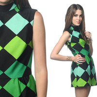 1960s Mod Dress Geometric Black Green Print 60s Micro Mini CIRCUS Op Art 70s Hippie 1970s Go Go Vintage Sleeveless Minidress Small S