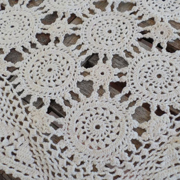 Vintage Table Runner, Off White, Cotton, Crocheted, Wedding, Home Decor
