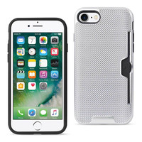 Reiko REIKO IPHONE 7 SLIM MESH SURFACE ARMOR HYBRID CASE WITH CARD HOLDER IN SILVER