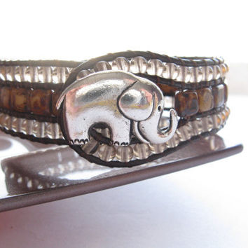 Beige Picasso Tile Bead Leather Cuff, Brown Leather, Beaded Bracelet/Cuff