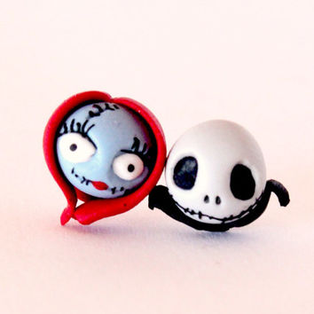 nightmare before christmas sally and jack inspired, stud earring