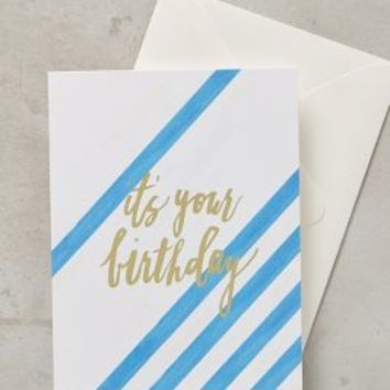 Striped Birthday Card by Anthropologie in Blue Size: One Size Books