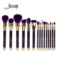 Jessup 15pcs Purple/Darkviolet Makeup Brushes Set Powder Foundation Eyeshadow Eyeliner Lip Contour Concealer Smudge Brush Tool