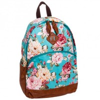 J. Carrot Turquoise Flower Print Canvas Backpack Bag
