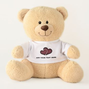Dark Red Hearts Teddy Bear