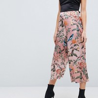 ASOS Soft Tailoried Culottes in Bird & Floral Print at asos.com