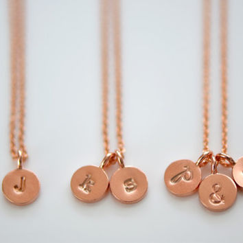 Dainty Tiny Rose Gold Vermeil Initial Necklace, Personalize Initial Necklace,  Couple's Necklace, Mother's Necklace, New Mom Gift