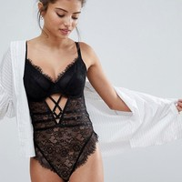 ASOS FULLER BUST Missy Underwired Lace Body With Cross Detail at asos.com