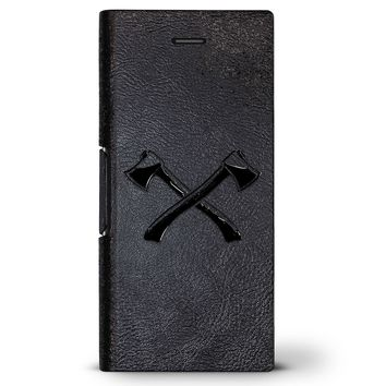 Pick Axes | Leather Series case for iPhone 8/7/6/6s in Hickory Black