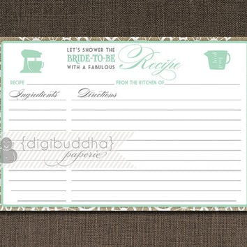 Mint Lace Burlap Shabby Chic Recipe Card INSTANT DOWNLOAD Rustic Wood Bridal Shower 4x6 DIY Printable or Printed Fill-In Recipe- Jackie