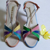 Vintage 1960s1970s Multicolor Colorblock Shoes by rileybella123