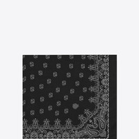 SAINT LAURENT BANDANA SQUARE SCARF IN BLACK AND WHITE PAISLEY PRINTED CASHMERE AND SILK ÉTAMINE | YSL.COM