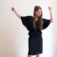 Kimono Blouse Black Chic Feminine - Light Oversized Black Top - Unique and comfortable waist-strap blouse - made to order in all sizes