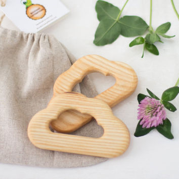 Wooden teether little cloud new baby teether baby gift eco-friendly toy handmade baby toy wooden teething ring