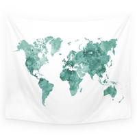 Society6 World Map In Watercolor Green Wall Tapestry