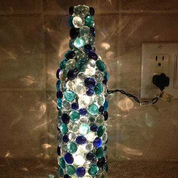Bottle Lamp (aqua blues, clear)