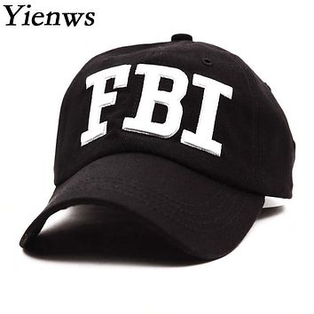 Yienws Woman Summer Baseball Cap For Woman Black Cotton Bone Brim Curved Caps Police FBI Full Trucker Cap YH120
