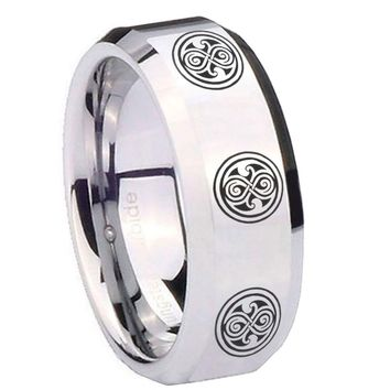 8MM Mirror Bevel Edges Multiple Doctor Who Silver Tungsten Laser Engraved Ring