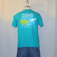 Vintage 80s HAWAII HELICOPTER GRAPHIC Papillon Beach Surf Island Medium Hanes Cotton T-Shirt