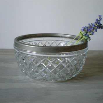 Glass Serving Bowl with Metal Rim and Diamond by HoundDogDigs