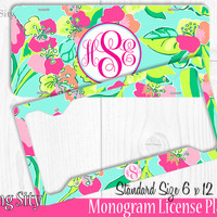Mint Floral Island Monogram License Plate Frame Holder Metal Wall Sign Tags Personalized Custom Vanity Plate