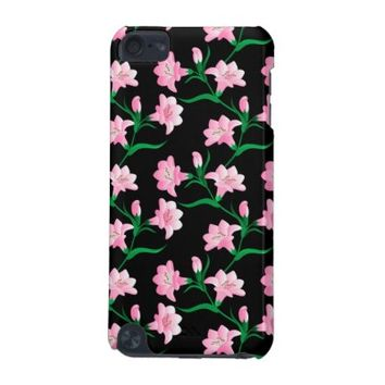 Pink Tiger Lily Flower Pattern iPod Touch Cover