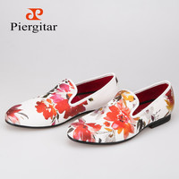 2016 new style Handmade white color print gold flower China style men loafers wedding and party men shoes Fashion men's flats