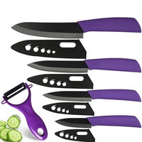 "Ceramic Knife Set 6"" 5"" 4"" 3"" Chef Slicing Utility Paring Knife + Purple Peeler a Set of Kitchen Knives Black Cooking Tools"
