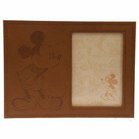 "disney parks 5""x7"" leather bound mickey mouse picture frame new with box"