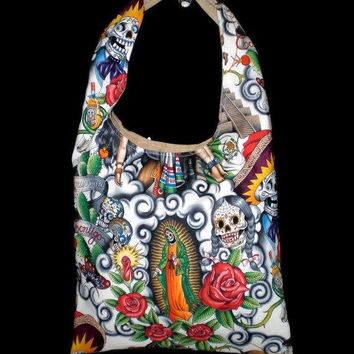 Virgin of Guadalupe Large Tote Bag Purse Day of the Dead Rockabilly Alexander Henry Fabric
