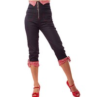 "Women's ""Bow"" Capri Pants by Pinky Pinups (Blue)"