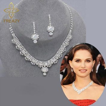 TREAZY New Celebrity Inspired Diamante Crystal Tennis Statement Necklace Earrings Set Wedding Bridal Bridesmaid Jewelry Sets