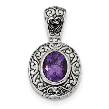 Sterling Silver Antiqued Oval Amethyst Pendant