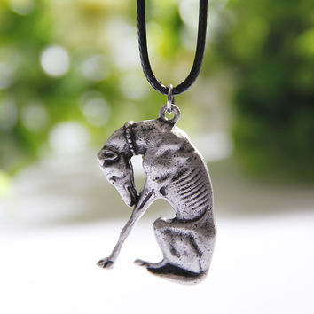 1pcs Thinking Statue Greyhound Necklace Dog Pendant Whippet Italian  Necklaces & Pendants Silver Charms Women Christmas Gift